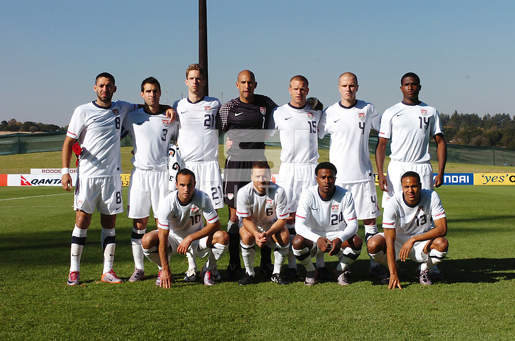 Starting 11 for the U.S. mens soccerteam for friendly match against Austraila in the last preparation match prior to the beginning of the 2010 FIFA World Cup. The U.S. won the match, 3-1, played June 5th, in Ruimsig Stadium,  at Roodepoort, South Africa.