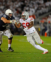22 October 2016:  Ohio State DE Tyquan Lewis (59) rushes the QB. The Penn State Nittany Lions upset the #2 ranked Ohio State Buckeyes 24-21 at Beaver Stadium in State College, PA. (Photo by Randy Litzinger/Icon Sportswire)