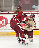 Kaitlin Spurling (Harvard - 17), Emily Pfalzer (BC - 14) - The Boston College Eagles defeated the visiting Harvard University Crimson 3-1 in their NCAA quarterfinal matchup on Saturday, March 16, 2013, at Kelley Rink in Conte Forum in Chestnut Hill, Massachusetts.