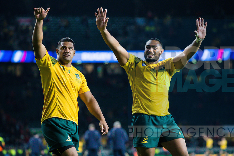 Australia's Scott Sio and Australia's Sekope Kepucelebrate the victory - Rugby World Cup 2015 - Pool A - Australia v Wales - Twickenham Stadium - London- England - 10th October 2015 - Picture Charlie Forgham Bailey/Sportimage