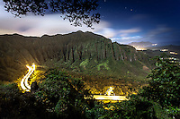 "An aerial view of the Ko'olau Range and H-3 Highway in Haiku Valley at night from Ha'iku Stairs (or ""Stairway to Heaven"") hiking trail in Kane'ohe, O'ahu."
