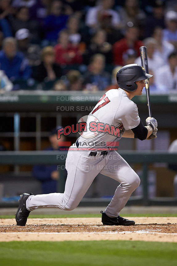 Zack Zehner (27) of the Scranton/Wilkes-Barre RailRiders follows through on his swing against the Charlotte Knights at BB&T BallPark on April 12, 2018 in Charlotte, North Carolina.  The RailRiders defeated the Knights 11-1.  (Brian Westerholt/Four Seam Images)