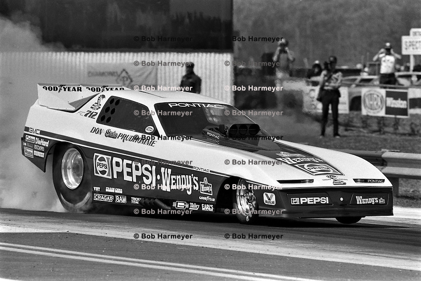 "GAINESVILLE, FL - MARCH 13: Don ""The Snake"" Prudhomme drives his Pontiac Firebird Funny Car during the NHRA drag race at Gainesville Raceway near Gainesville, Florida, on March 13, 1983."