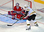 24 January 2009: Boston Bruins' right wing forward Blake Wheeler scores on Montreal Canadiens' goaltender Carey Price in the Youngstars Game where the NHL rookies defeated the sophomore 9-5 in the NHL SuperSkills Competition, part of the All-Star Weekend at the Bell Centre in Montreal, Quebec, Canada. Wheeler was named MVP and scored a hat-trick in the game. ***** Editorial Sales Only ***** Mandatory Photo Credit: Ed Wolfstein Photo