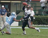 UVa football quarterback Marquis Hagans for the Virginia Cavaliers playing in Scott Stadium at the University of Virginia in Charlottesville, VA. Photo/Andrew Shurtleff.