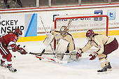 Jillian Dempsey (Harvard - 14), Corinne Boyles (BC - 29), Taylor Wasylk (BC - 9) - The Boston College Eagles defeated the visiting Harvard University Crimson 3-1 in their NCAA quarterfinal matchup on Saturday, March 16, 2013, at Kelley Rink in Conte Forum in Chestnut Hill, Massachusetts.