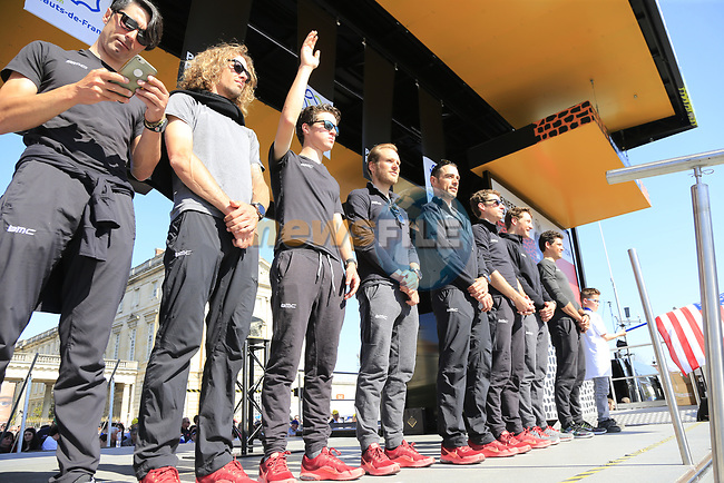 BMC Racing Team at the Team Presentation for the upcoming 115th edition of the Paris-Roubaix 2017 race held in Compiegne, France. 8th April 2017.<br /> Picture: Eoin Clarke   Cyclefile<br /> <br /> <br /> All photos usage must carry mandatory copyright credit (&copy; Cyclefile   Eoin Clarke)