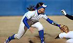 BROOKINGS, SD - APRIL 3:  Alyssa D'Agostino from South Dakota State tries top put the tag on a base runner from Nebraska Omaha Friday afternoon in Brookings. (Photo by Dave Eggen/Inertia)