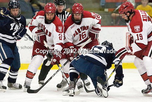 Kevin Peel (Yale - 23), Marshall Everson (Harvard - 21), Alex Fallstrom (Harvard - 16), Clinton Bourbonais (Yale - 15), Alex Killorn (Harvard - 19) - The Harvard University Crimson defeated the visiting Yale University Bulldogs 8-2 in the third game of their ECAC Quarterfinal matchup on Sunday, March 11, 2012, at Bright Hockey Center in Cambridge, Massachusetts.
