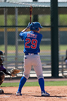 Chicago Cubs left fielder Ruben Reyes (29) at bat during an Extended Spring Training game against the Colorado Rockies at Sloan Park on April 17, 2018 in Mesa, Arizona. (Zachary Lucy/Four Seam Images)