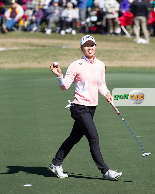 Minjee Lee after she holes her putt on 18 during the Second day of the Second round of the LPGA Coates Golf Championship 2016 , from the Golden Ocala Golf and Equestrian Club, Ocala, Florida. 5/2/16<br /> Picture: Mark Davison | Golffile<br /> <br /> <br /> All photos usage must carry mandatory copyright credit (&copy; Golffile | Mark Davison)