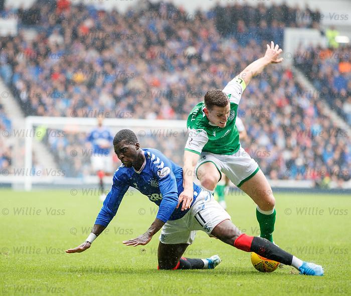11.08.2019 Rangers v Hibs: Sheyi Ojo and  Paul Hanlon