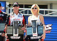 Sept. 22, 2012; Ennis, TX, USA: NHRA funny car shootout drivers (L-R) Jack Beckman, Mike Neff and Courtney Force during qualifying for the Fall Nationals at the Texas Motorplex. Mandatory Credit: Mark J. Rebilas-