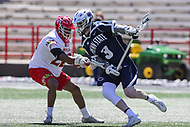 College Park, MD - April 8, 2017: Penn State Nittany Lions Mac O'Keefe (3) holds off Maryland Terrapins Isaiah Davis-Allen (26) during game between Penn State and Maryland at  Capital One Field at Maryland Stadium in College Park, MD.  (Photo by Elliott Brown/Media Images International)