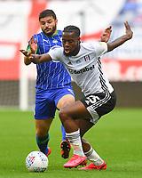 Fulham's Fulham's Joshua Onomah battles with Wigan Athletic's Sam Morsy<br /> <br /> Photographer Dave Howarth/CameraSport<br /> <br /> The EFL Sky Bet Championship - Wigan Athletic v Fulham - Wednesday July 22nd 2020 - DW Stadium - Wigan<br /> <br /> World Copyright © 2020 CameraSport. All rights reserved. 43 Linden Ave. Countesthorpe. Leicester. England. LE8 5PG - Tel: +44 (0) 116 277 4147 - admin@camerasport.com - www.camerasport.com