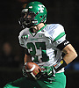 Farmingdale wide receiver No. 27 Steve Kunz reacts after reeling in a pass for a 39-yard touchdown as time expired in the second quarter of the Nassau County varsity football Conference I final against Oceanside at Hofstra University on Saturday, Nov. 21, 2015.<br /> <br /> James Escher