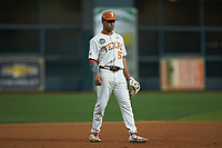 Texas Longhorns third baseman Cam Williams (55) on defense against the Missouri Tigers in game eight of the 2020 Shriners Hospitals for Children College Classic at Minute Maid Park on March 1, 2020 in Houston, Texas. The Tigers defeated the Longhorns 9-8. (Brian Westerholt/Four Seam Images)