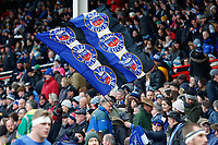 A general view of a Bath Rugby supporters in the crowd. Anglo-Welsh Cup Final, between Bath Rugby and Exeter Chiefs on March 30, 2018 at Kingsholm Stadium in Gloucester, England. Photo by: Patrick Khachfe / Onside Images