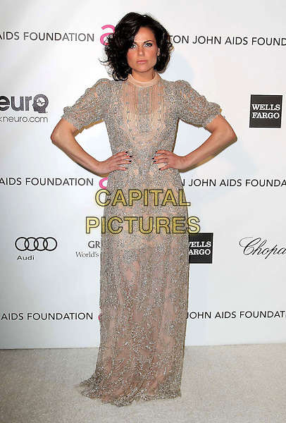 Lana Parrilla.21st Annual Elton John Academy Awards Viewing Party held at West Hollywood Park, West Hollywood, California, USA..February 24th, 2013.oscars full length hands on hips beige silver beads beaded dress .CAP/ADM/KB.©Kevan Brooks/AdMedia/Capital Pictures.