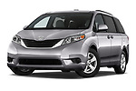 Stock pictures of low aggressive front three quarter view of a 2017 Toyota Sienna LE 5 Door Mini Van