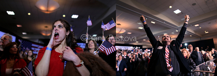 (L-R) Jennifer Harper cheers while watching Republican Presidential candidate Mitt Romney (R-MA) take a slight lead over his rival, Rick Santorum (R-PA) in the battle for primary elections in Romney's home state in Novi, Michigan on Tuesday, February 28, 2012; and Scott Czasak screams out in joy while watching the results of primary elections in the home state of Republican Presidential candidate Mitt Romney (R-MA), as it is announced he has defeated his rival, Rick Santorum (R-PA) in Novi, Michigan on Tuesday, February 28, 2012. (Photo by Yana Paskova for The New York Times)