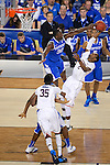 07 APR 2014: DeAndre Daniels (2) attempts to shoot in front of Julius Randle (30) of the University of Connecticut takes on the University of Kentucky during the 2014 NCAA Men's DI Basketball Final Four Championship at AT&T Stadium in Arlington, TX.  Connecticut defeated Kentucky 60-54 to win the national title. Brett Wilhelm/NCAA Photos