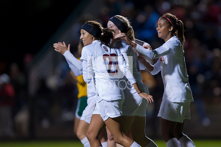 STANFORD, CA - November 12, 2010: Sydney Payne celebrates her goal with teammates during a first-round NCAA soccer match against Sacramento State in Stanford, California.  Stanford won 3-0.