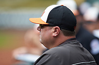 Sam Houston State Bearkats assistant coach Shane Wedd during the game against the Vanderbilt Commodores in game one of the 2018 Shriners Hospitals for Children College Classic at Minute Maid Park on March 2, 2018 in Houston, Texas. The Bearkats walked-off the Commodores 7-6 in 10 innings.   (Brian Westerholt/Four Seam Images)