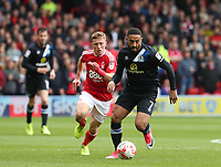 Blackburn Rovers' Liam Feeney and Nottingham Forest's Ben Osborn<br /> <br /> Photographer Rachel Holborn/CameraSport<br /> <br /> The EFL Sky Bet Championship - Nottingham Forest v Blackburn Rovers - Friday 14th April 2016 - The City Ground - Nottingham<br /> <br /> World Copyright &copy; 2017 CameraSport. All rights reserved. 43 Linden Ave. Countesthorpe. Leicester. England. LE8 5PG - Tel: +44 (0) 116 277 4147 - admin@camerasport.com - www.camerasport.com