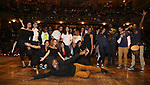 MC Host Justin Dine Bryant with student performersduring the an eduHAM Q & A panel with the cast of Broadway's 'Hamilton' at The Richard Rodgers Theatre on May 23, 2018 in New York City.