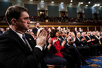 FEBRUARY 5, 2019 - WASHINGTON, DC: Veterans Affairs secretary Robert Wilkie and other members of the cabinet during the State of the Union address at the Capitol in Washington, DC on February 5, 2019. <br /> Credit: Doug Mills / Pool, via CNP