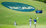 MUSCLE SHOALS, AL - MAY 25: Lynn's Manuel Torres, left, and West Florida's Jacob Huizinga shake hands on the 18th green after finishing up during the Division II Men's Team Match Play Golf Championship held at the Robert Trent Jones Golf Trail at the Shoals, Fighting Joe Course on May 25, 2018 in Muscle Shoals, Alabama. Lynn defeated West Florida 3-2 to win the national title. (Photo by Cliff Williams/NCAA Photos via Getty Images)