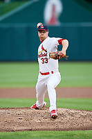 Springfield Cardinals relief pitcher Blake McKnight (33) delivers a pitch during a game against the San Antonio Missions on June 4, 2017 at Hammons Field in Springfield, Missouri.  San Antonio defeated Springfield 6-1.  (Mike Janes/Four Seam Images)