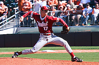 AUSTIN, TEXAS-March 6, 2011:  A.J. Vanegas of Stanford prepares to deliver a pitch during the game against the Texas Longhorns, at Disch-Falk field in Austin, Texas.  Texas defeated Stanford 4-2.