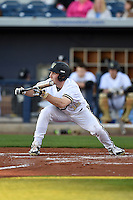 Vanderbilt Commodores outfielder Nolan Rogers (18) squares to bunt during a game against the Indiana State Sycamores on February 20, 2015 at Charlotte Sports Park in Port Charlotte, Florida.  Vanderbilt defeated Indiana State 3-2.  (Mike Janes/Four Seam Images)