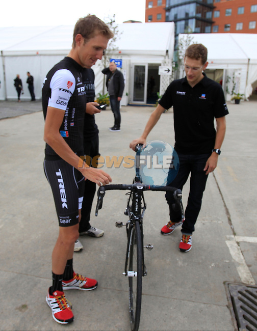Andy Schleck (LUX) Trek Factory Racing Team press conference before the 2014 Tour de France. 3rd July 2014.<br /> Picture: Eoin Clarke www.newsfile.ie