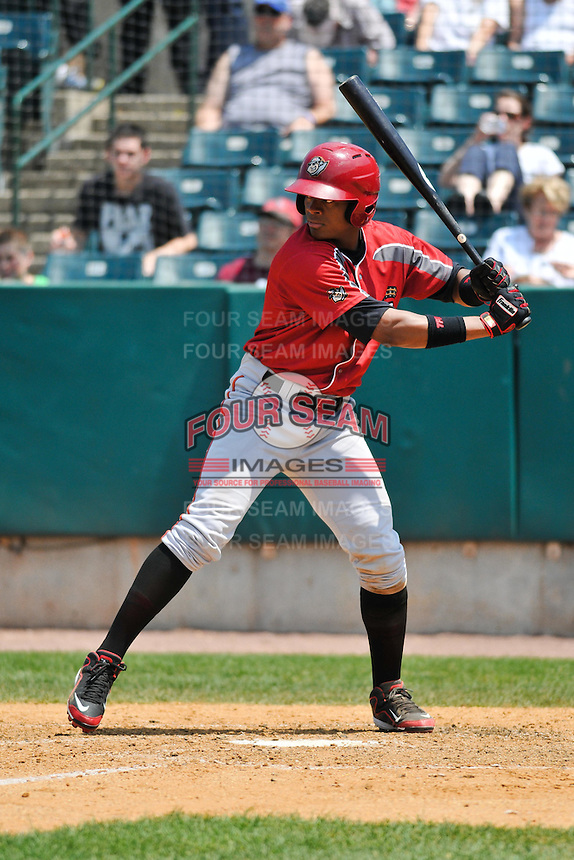 Andy Vasquez (2) of the Altoona Curve bats during a game against the New Britain Rock Cats at New Britain Stadium on June 25, 2014 in New Britain, Connecticut.  New Britain defeated Altoona 3-1.  (Gregory Vasil/Four Seam Images)