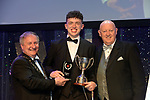 Colin Gilligan, UCD Musical Society, Dublin winner of the Best Actor in a Supporting Role / Sullivan Section for his role as 'Hugh Dorsey' in 'Parade' receiving the trophy from on  left, Colm Moules, President, AIMS and Seamus Power, Vice-President at the Association of Irish Musical Societies annual awards in the INEC, KIllarney at the weekend.<br /> Photo: Don MacMonagle -macmonagle.com<br /> <br /> <br /> <br /> repro free photo from AIMS<br /> Further Information:<br /> Kate Furlong AIMS PRO kate.furlong84@gmail.com