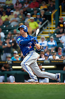 Toronto Blue Jays second baseman Andy Burns (1) at bat during a Spring Training game against the Pittsburgh Pirates on March 3, 2016 at McKechnie Field in Bradenton, Florida.  Toronto defeated Pittsburgh 10-8.  (Mike Janes/Four Seam Images)