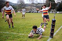 Hopoate Finau Jr scores during the Otago 1st XV secondary schools rugby union match between John McGlashan College and Otago Boys' High School at John McGlashan College in Dunedin, New Zealand on Saturday, 4 July 2020. Photo: Joe Allison / lintottphoto.co.nz