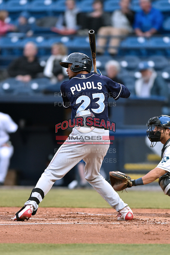 Lakewood BlueClaws right fielder Jose Pujols (23) awaits a pitch during a game against the Asheville Tourists at McCormick Field on May 4, 2016 in Asheville, North Carolina. The Tourists defeated the BlueClaws 2-0. (Tony Farlow/Four Seam Images)