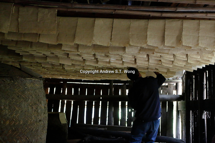 A man makes traditional paper from bamboo at Wangmo County in China's southwestern Guizhou Province, April 2019.