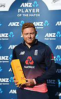 England's Jonny Bairstow player of the match.<br /> New Zealand Blackcaps v England. 5th ODI International one day cricket, Hagley Oval, Christchurch. New Zealand. Saturday 10 March 2018. &copy; Copyright Photo: Andrew Cornaga / www.Photosport.nz