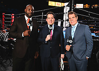 "LAS VEGAS - JUNE 23:  Lennox Lewis, Kenny Albert and Joe Goossen at Fox Sports ""PBC on Fox Fight Night"" at Mandalay Bay Resort & Casino on June 23, 2019 in Las Vegas, Nevada. (Photo by Scott Kirkland/Fox/PictureGroup)"