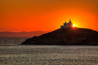 The lighthouse at the port of Korissia on the island of Kea, Greece