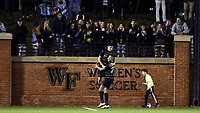 WINSTON-SALEM, NC - DECEMBER 01: Kyle Holcomb #3 of Wake Forest University celebrates his goal with Calvin Harris #22 during a game between Michigan and Wake Forest at W. Dennie Spry Stadium on December 01, 2019 in Winston-Salem, North Carolina.
