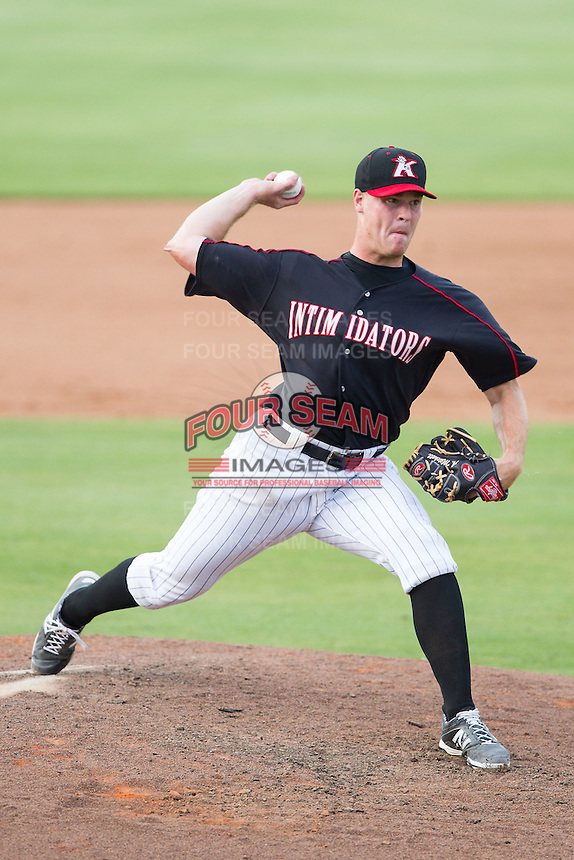 Kannapolis Intimidators relief pitcher Andrew Mitchell (45) in action against the Asheville Tourists at CMC-NorthEast Stadium on July 13, 2014 in Kannapolis, North Carolina.  The Tourists defeated the Intimidators 8-2.  (Brian Westerholt/Four Seam Images)