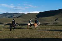 Mongolia, Ovorkhangai Province, Kharakhorum, Orkhon Bag. Tourists on horses.
