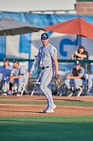Owen Taylor (27) first baseman of the Grand Junction Rockies during the game against the Ogden Raptors at Lindquist Field on August 28, 2019 in Ogden, Utah. The Rockies defeated the Raptors 8-5. (Stephen Smith/Four Seam Images)
