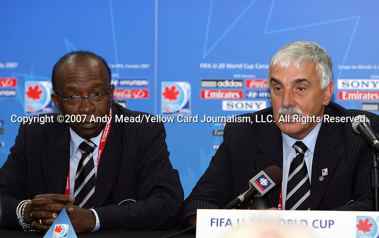 30 June 2007: Jack Warner (l), CONCACAF President, and Colin Linford (r), President of the Canadian Soccer Association. At Le Stade Olympique in Montreal, Quebec, Canada. Poland's Under-20 Men's National Team defeated Brazil's Under-20 Men's National Team 1-0 in a Group D opening round match during the FIFA U-20 World Cup Canada 2007 tournament.